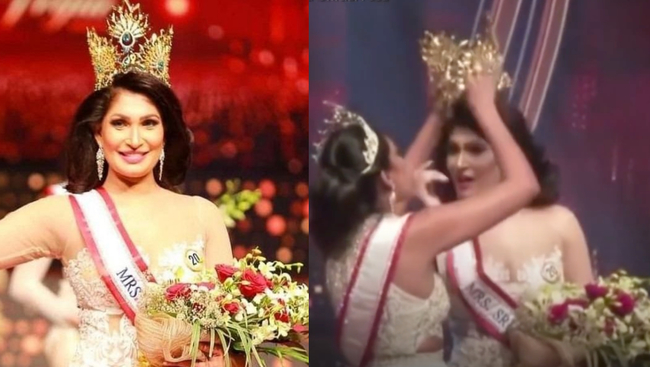 Mrs. Sri Lanka 2021 re-crowned after having crown taken away from Mrs.World on stage