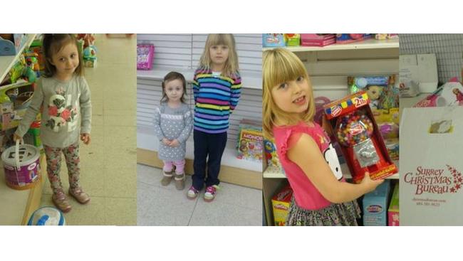 Help Ryley and Chloe stock the shelves at the Surrey Christmas Bureau