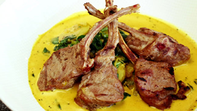 Marinated Lamb Popsicles with Fenugreek Cream Curry by Chef Vikram Vij