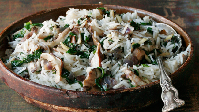 Mushroom and Spinach Rice