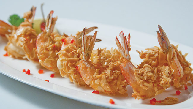 Almond Crusted Prawns with Wasabi Mayo