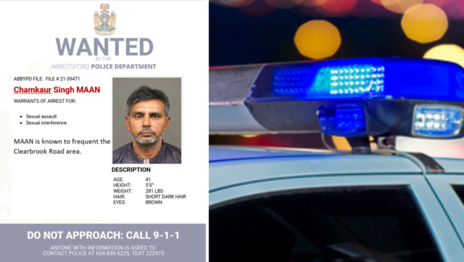 Abbotsford Police need public's assistance in locating Chamkaur Singh Maan wanted for sexual assault