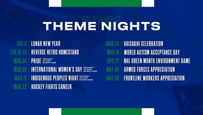 Vancouver Canucks present theme nights with the Vaisakhi theme taking place March 24th