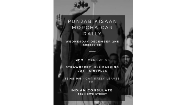 Surrey to Vancouver car rally organized to support farmers protests in India