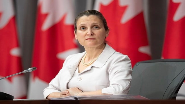 Senators question Freeland on aid bill