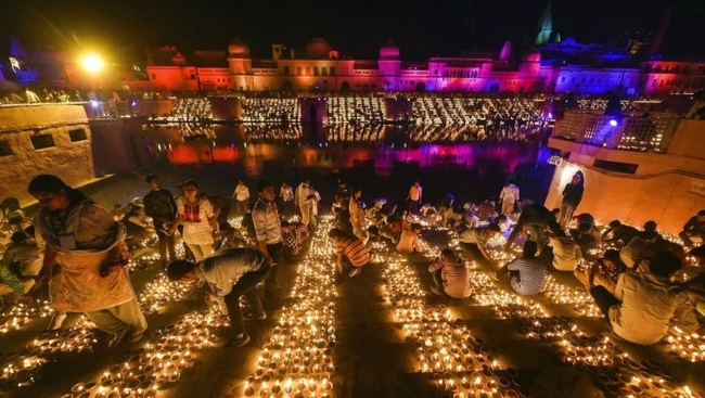 City of Ayodhya the birthplace of Lord Ram breaks previous records by decorating the city and its surrounding areas with over 600,000 diyas