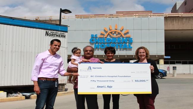 Raju family donates $50,000 dollars to BC Children's Hospital