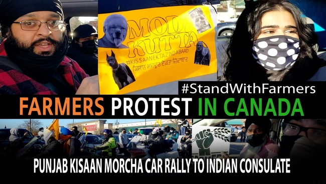 Punjabi residents make their way via a car ralley from Surrey to Vancouver Consulate in support of farmers in India