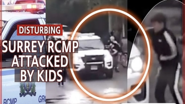 WATCH: KIDS SWARM RCMP OFFICERS IN SURREY - 3 ARRESTED