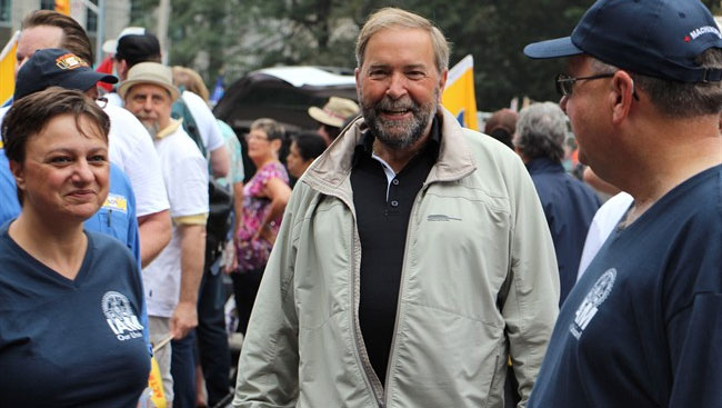 In B.C. Tom Mulcair Says Only He Can Stop TPP Deal, Accuses Trudeau Of Siding With Harper
