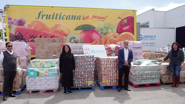 Fruiticana makes large food donation to the Surrey Food Bank for Vaisakhi