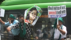 IYC protests against Lekhi for calling farmers 'mawalis', demands apology