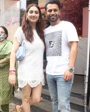 Rahul Vaidya & Disha Parmer twinning in white for lunch
