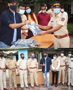 Vivek Oberoi donates rain jackets to Mumbai Police