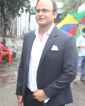 Sanket Bhosle snapped by press