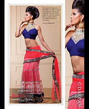 Crossover Bollywood Se: This gorgeous lehnga-saree is lightweight, yet splashy enough to challenge any party-going fashionista. The velvet border weighs the white tulle and lace down in a perfect balance. The pallah is held here as an accessory.