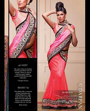 Made In India: Neon blush pink is contrasted by black and gold in this striking lehnga-saree, ready-made and easy to wear. The fashion forward ready-made blouse is just beautiful and completes this city- chic look.