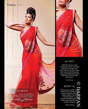 Guru Bazaar: The bridal red saree is made contemporary with this stunningly delicate look. The three-tone colour scheme of red-fuscia-orange tulle is sprayed with shimmering crystals and embellished with silver embroidery to mock the belly chain jhumar.