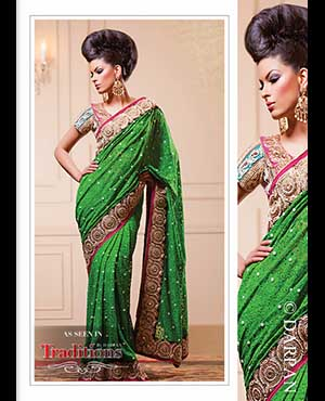 Shimar Fashions: This parrot green number is made distinct by its lovely lace fabric, encrusted with beads and pearls, making a definite statement. Contrasted with fuscia and decorated with delicate pearl and polki crystals, the look is very trendy, yet feminine.