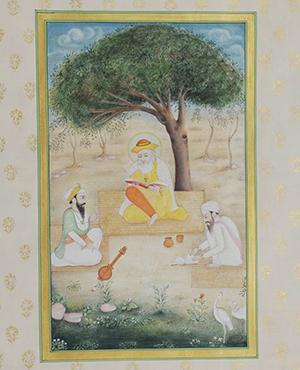 PM Modi presented Stephen Harper a traditional Indian miniature painting showing Guru Nanak Dev with his disciples Bhai Bala & Bhai Mardana.