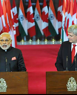 PM Modi giving his statement to the Media, during Joint Press Interaction at Parliament Hill, Ottawa