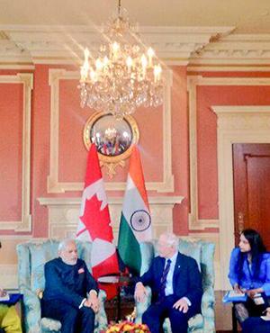 PM Modi calls on Canada's Governor General David Johnston at Rideau Hall in Ottawa.