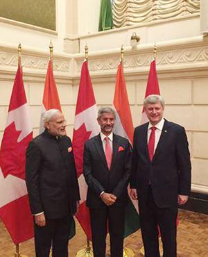 PM Narendra Modi, Foreign Secretary Dr. S Jaishankar and Canada PM Mr. Stephen Harper