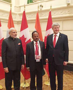 PM Narendra Modi, NSA Shri Ajit Doval and Canada PM, Mr. Stephen Harper