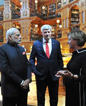 PM Modi visiting the library of Canadian Parliament with Canadian PM, Mr. Stephen Harper at Ottawa