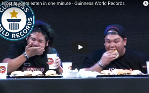 Watch: Boy Gobbles Down 5 Hamburgers In One Minute To Set A New Guinness World Record