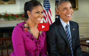 Watch: Michelle Obama Pulls Barack's Leg For His Dad Jokes For Their Final Christmas Address