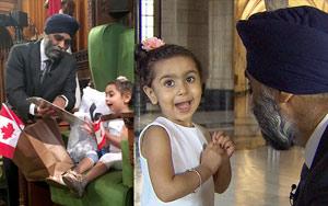 Harjit Sajjan Takes His Tiniest Fan On A Tour Of Parliament