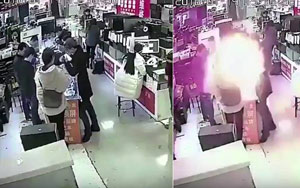Man Bites Battery To Check Authenticity; It Explodes Into Flames